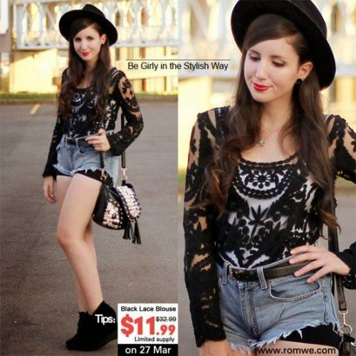 Black Lace Blouse from Romwe Sale!