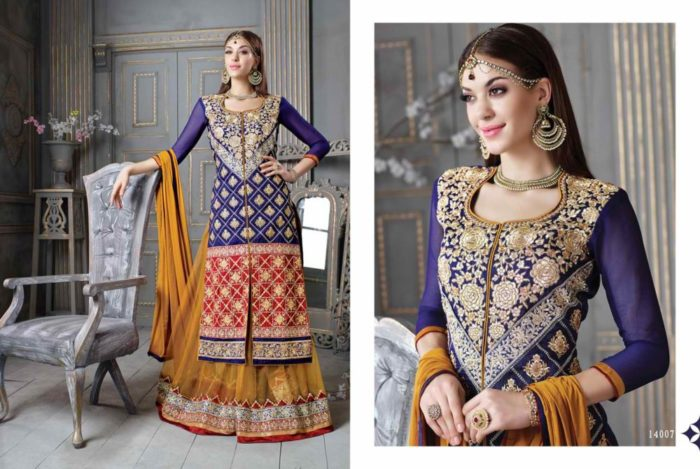 Designer Heavy Embroidered And Fancy Blue & Mehndi Suit
